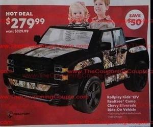 Rollplay Kids' 12V Realtree Camo Chevy Silverado Ride-On Vehicle