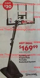 "Spalding 54"" Angled Pole Portable Basketball System"
