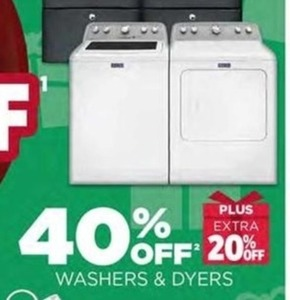 Washers and Dryers + Extra 20% Off