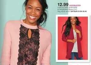 Lace-Accent Sweaters and Cardigans