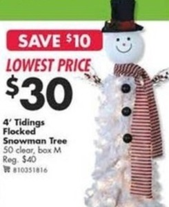 4' Tidings Flocked Snowman Tree