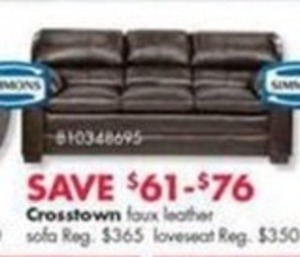 Crosstown Faux Leather Sofa or LoveSeat
