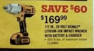"DeWalt 1/2"" 20V Impact Wrench w/ Battery & Charger"