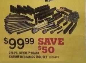 226 PC Dewalt Black Chrome Mechanics Tool Set