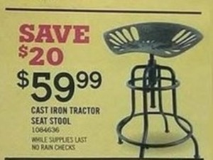 Cast Iron Tractor Seat Stool