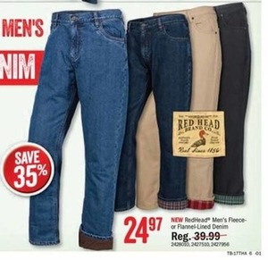 RedHead Men's Fleece or Flannel-Lined Denim