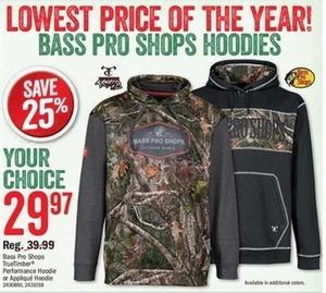 Bass Pro Shops TrueTimber Performance Hoodie or Applique Hoodie