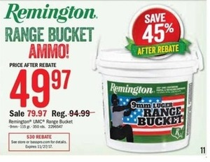 Remington Range Bucket Ammo (after rebate)