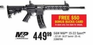 S&W M&P 15-22 Sport .22 LR + $50 Bonus Bucks Card