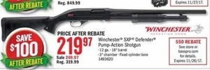 Winchester SXP Defender Pump-Action Shotgun After Rebate