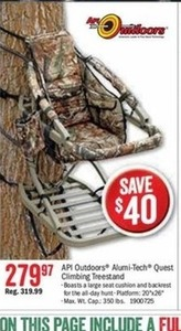 API Outdoors Alumni-Tech Quest Climbing Treestand
