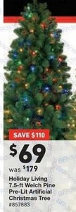 "Holiday Living 7.5"" Welch Pine Pre-Lit Tree"