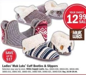 Ladies' Muk Luks Cuff Booties and Slippers