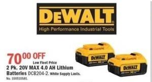 Dewalt 2pk .20V Max 4AH Lithium Batteries