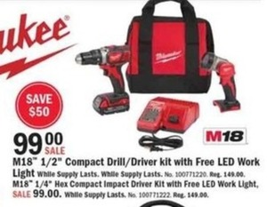 "Milwaukee M18 1/2"" Compact Drill/Driver Kit + Free LED Work Light"