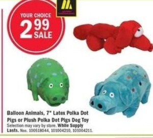 "Baloon Animals, 7"" Latex or Plush Polka Dot Pigs Dog Toy"
