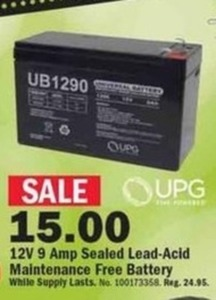 UPG 12V 9Amp Sealed Lead-Acid Maintenance Free Battery