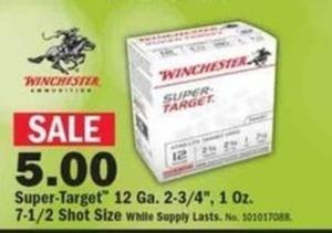 "Winchester Super-Target 12 Ga. 2-3/4"", 1oz 7-1/2 Shot Size"