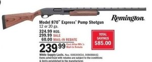 Model 870 Express Pump Shotgun After Rebate
