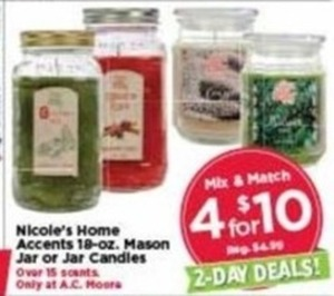 Nicole's Home Accents Jar Candles