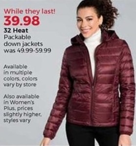32 Heat Packable Down Jackets