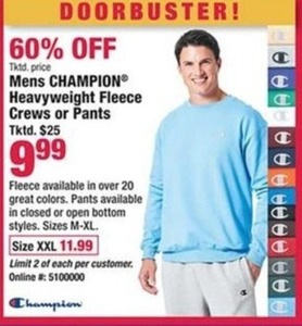 Mens Champion Heavyweight Fleece Crews or Pants
