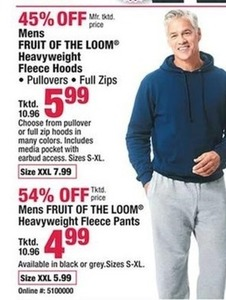 Men's Fruit of the Loom Heavyweight Fleece Pullover & Zip Hoods