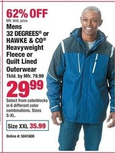 Mens 32 Degrees or Hawke & Co Heavyweight Fleece or Quilt Lined Outerwear