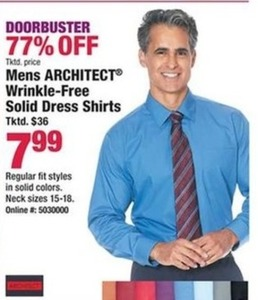 Mens Architect Wrinkle Free Solid Dress Shirts
