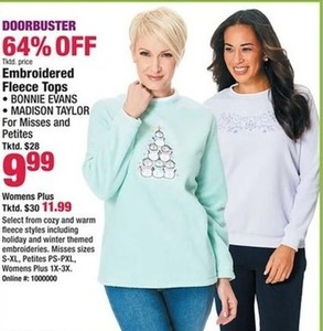 Embroidered Fleece Tops