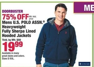 Men U.S. Polo Assn. Heavyweight Fully Sherpa Lined Hooded Jacket