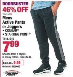 Mens Active Pants or Joggers XXL Size