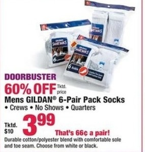 Mens Gildan 6 Pair Pack Socks