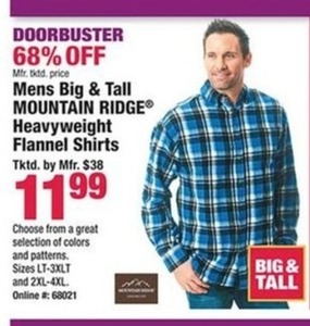 Mens Big and Tall Mountain Ridge Heavyweight Flannel Shirts