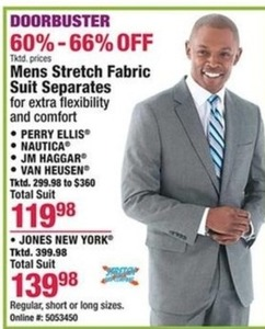 Mens Stretch Fabric Suit Separates