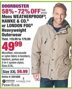 Mens Weatherproof, Hawke and Co. or London Fog Heavyweight Outerwear XXL