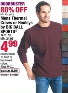 Mens Thermal Crews or Henleys by Big Ball Sports XXL