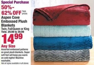 Aspen Cove Embossed Plush Blankets