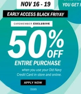 Sitewide Savings w/ Old Navy Card 11/16 - 11/19