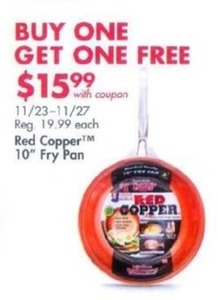 "B1G1 Free Red Copper 10"" Fry Pan w/ Coupon"