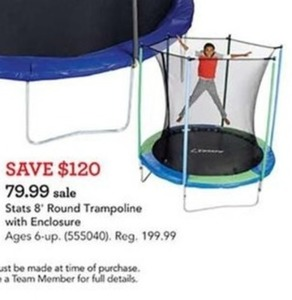 Stats 8 foot Round Trampoline with Enclosure