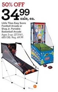Little Tikes Easy Score Football Arcade or Shaq Jr. Portable Basketball Arcade