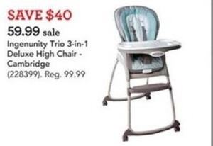 Ingenunity Trio 3-in-1 Deluxe High Chair