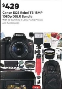 Canon EOS Rebel T6 18MP 1080p DSLR Bundle