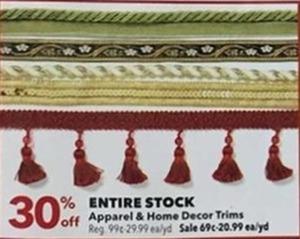 Entire Stock Apparel Home Decor Trims