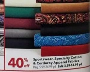 Sportswear, Specialty Cotton, and Corduroy Apparel Fabrics