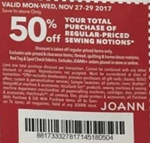 Coupon for Regular Priced Sewing Notions