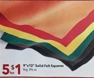 9 x 12 Solid Felt Squares