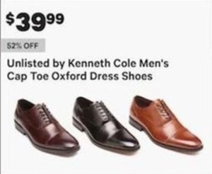 Unlisted by Kenneth Cole Men's Cap Toe Oxford Dress Shoes