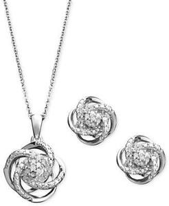 1/4 ct. tw. Diamond Knot Earring & Pendant Set